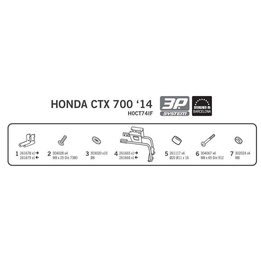 Shad Side Master 3P System for Honda CTX700